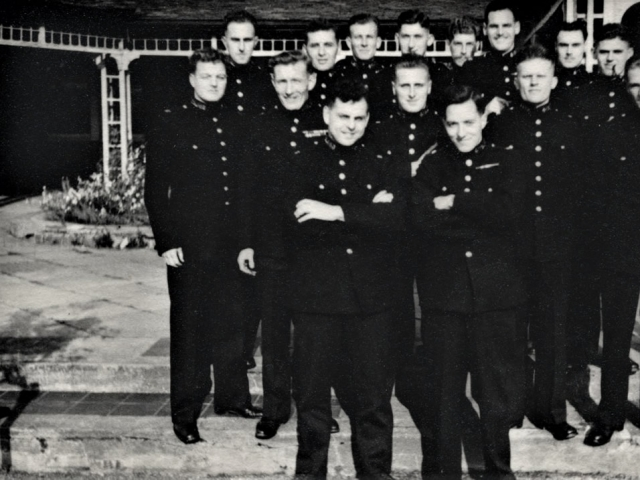 Metropolitan Police Training College, Hendon, England ... some of the first post-war recruits ... Douglas Reeman front row right.