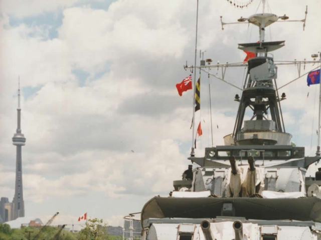 Researching For Valour aboard the last Tribal-Class destroyer, HMCS Haida, In Toronto (photo by Kim Reeman).