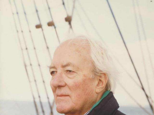 Douglas Reeman aboard the sailing ship Grand Turk.