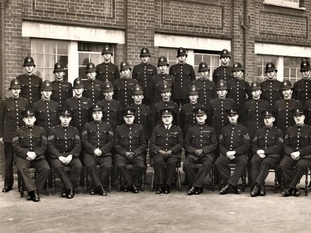Metropolitan Police Training School, Peel House, Hendon, England ... Douglas Reeman third row, third from left.
