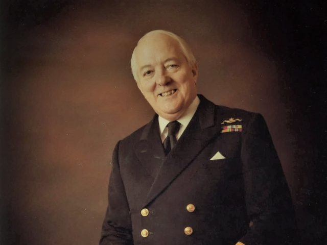 Douglas Reeman in his naval uniform, a photo taken just before the couple's wedding.